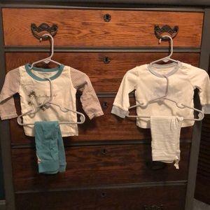 TWO Burt's Bees Baby Pants and Shirt Sets 3-6 mos